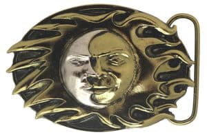 24 ct. Gold and Silver Plated Sun and Moon Belt Buckle with display stand. Product code: GC7