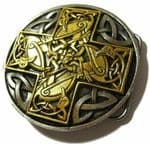 24ct Gold and Silver Plated Celtic Cross with display stand