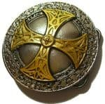 24ct Gold and Silver Plated Norse Cross Belt Buckle with display stand. Code MC7