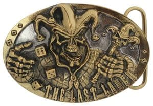 24ct Gold and Silver Plated The Last Laugh Skull Jester Dice Belt Buckle with display stand. Code JH6
