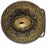 24ct. Gold and silver Plated Celtic Round Belt Buckle with display stand. Code KE1