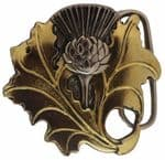 24ct. Gold and Silver Plated Thistle Belt Buckle with display stand. Product Code: FJ2