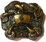 24ct. Gold & Silver Plated Viking Dragon Claw Belt Buckle with display stand