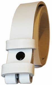 25 mm White Snap Fit Leather Belt