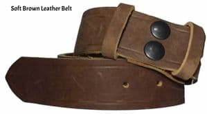 38mm Antique Brown Soft Full Grain Snap Fit Leather Belt 1.5 inches wide
