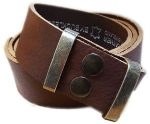 38mm Dark Brown Soft Full Grain Snap Fit Leather Belt 1.5 inches wide