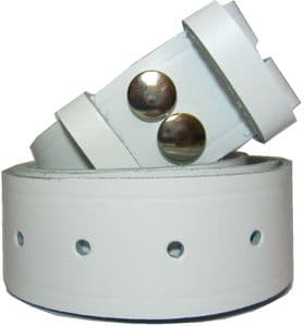 38mm White Snap Fit Leather Belt
