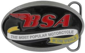 BSA Oval Scroll (black/red) Belt Buckle with display stand (ME3)