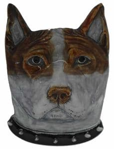 Bull Terrier Head Belt Buckle with display stand. Product code LB8