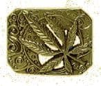 CANNABIS LEAF (RECTANGLE) Belt Buckle + display stand