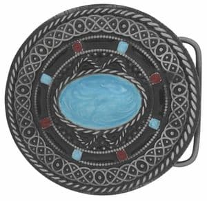 Celtic Round Belt Buckle with display stand. Code JK7