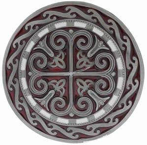 Celtic Round Cross (Red) Belt Buckle with display stand (LG5)