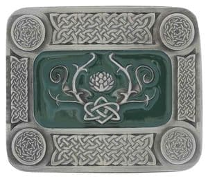 Celtic Thistle Oblong Belt Buckle with display stand. Code LA3