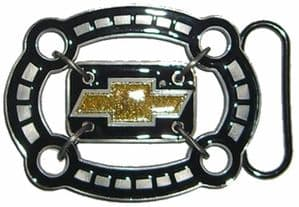 Chevy Logo in Oval Belt Buckle with display stand