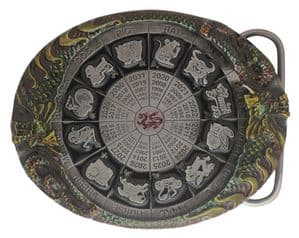 Chinese Calendar Belt Buckle with display stand. ode DF2