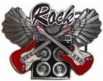 Crossed Rock Guitars Amplifier and Wings Belt Buckle with display stand