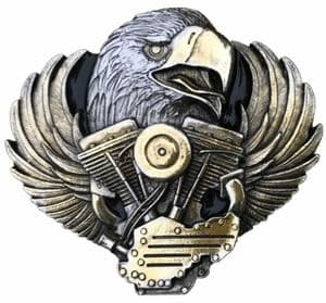 Eagle Head / Motorbike Engine Gold and Silver Plated Belt Buckle. Code PC5