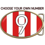 Football Soccer Red and White Stripes Shirt Belt Buckle. Code A0077