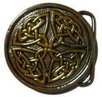Gold & Silver Plated Celtic Circle Belt Buckle with display stand