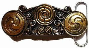 Gold & Silver Plated Celtic Design Belt Buckle with display stand. Code KD2