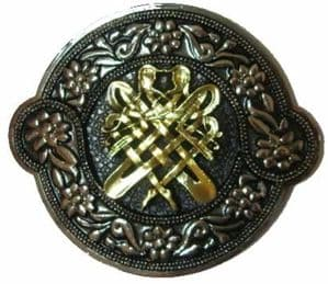 Gold & Silver Plated Celtic Intertwining Figures Belt Buckle with display stand. Code AE3