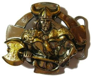 Gold & Silver Plated Celtic Warrior Belt Buckle with display stand