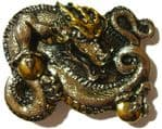 Gold & Silver Plated Chinese Dragon Belt Buckle with display stand
