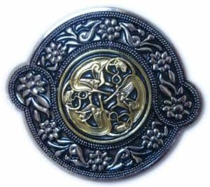 Gold & Silver Plated Three Celtic Dogs Belt Buckle with display stand. Code AG7