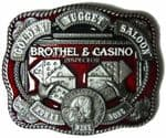 GOLDEN NUGGET SALOON BELT BUCKLE + display stand