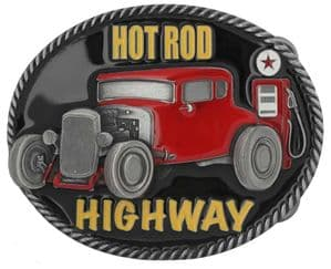 Hot Rod Highway Belt Buckle with display stand (FM1)