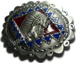 INDIAN - LARGE DIAMOND CUT Belt Buckle + display stand
