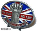 Iron Fist 'We came, we saw, we conquered' Belt Buckle + display stand. Code BK5