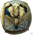 Iron Horse Motorcycle Belt Buckle + display stand. Code BD4