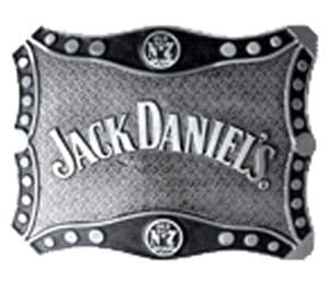 Jack Daniel's Scrolled Oblong Belt Buckle with display stand. Product code WC2
