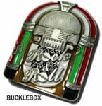 Jukebox Belt Buckle with display stand. Code BB7