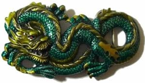 Large Chinese Dragon Belt Buckle + display stand. Code HE1
