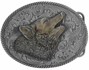 Large Oval Wolf Head Belt Buckle with display stand (KK2)