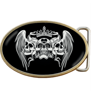 Love and Death Skull Belt Buckle. Code A0055