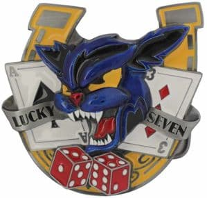 Lucky Seven, Wild Cat Cards, Dice and Horseshoe Belt Buckle with display stand. Product code EH5