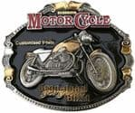 Moto Guzzi Motorcycle Gold and Silver Plated Belt Buckle with display stand. Code PB2
