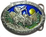 North American Indian on Horse Belt Buckle + display stand. Code GF5