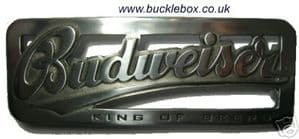 OFFICIALLY LICENSED BUDWEISER OBLONG CUT OUT BELT BUCKLE + display stand