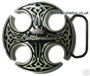 OFFICIALLY LICENSED BUDWEISER ROUND CELTIC belt buckle + display stand