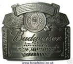 Officially Licensed Budweiser Silver Label Belt Buckle + display stand