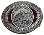 One Dollar Coin Belt Buckle with display stand. Code MH7