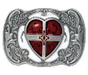 Red Heart Belt Buckle with display stand. Product code WE8