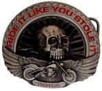 Ride It Like You Stole It Chopper Belt Buckle with display stand. Code EK4