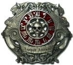 SKULL & CLOCK FACE LARGE BELT BUCKLE + display stand. Product code: ZY3