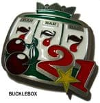 Slot Machine, One Armed Bandit Belt Buckle + display stand