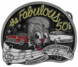 The Fab 50's Belt Buckle with display stand. Product code: KC2